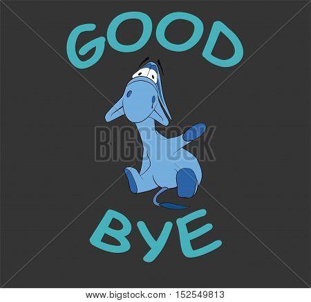 Sad donkey waving hand with
