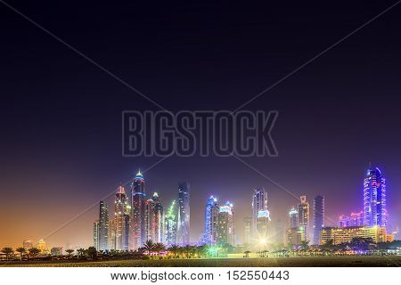 Panoramic view of Dubai Marina bay with cloudy sky on sunset, Dubai, UAE
