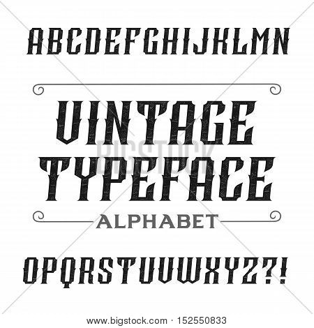 Vintage alphabet font. Oblique letters for labels, headlines, posters etc. Stock vector typography.