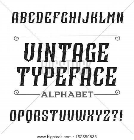 Vintage alphabet font. Oblique letters for labels, headlines, posters etc. Stock vector typography.