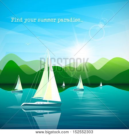 Sailboats regatta on beautiful mountains landscape background. Vector illustration