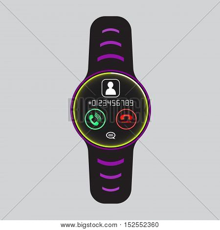 Black smart watch with incoming call pictogram. Smart watch logo. Isolated smart watch sign. Smart watch vector icon. Glowing smart watch.