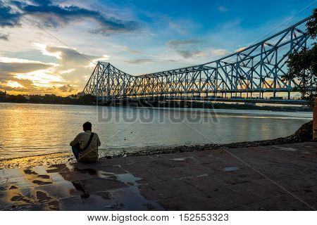 Sunset at the Howrah Bridge on river Hooghly
