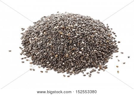 Heap of chia seeds isolated on white background