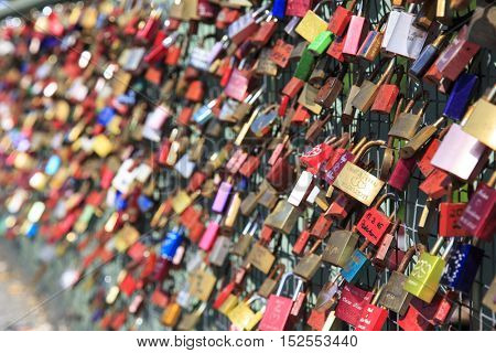 Hamburg, Germany - June 10, 2016: Love lock on a Hamburg bridge
