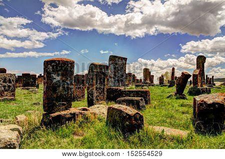 Stone slabs aha khachkar in Noratus cemetery Armenia