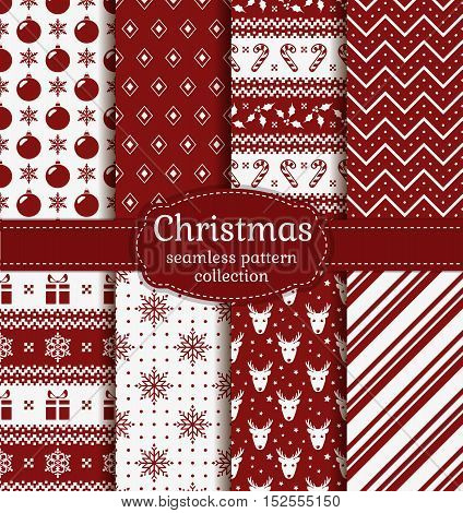 Merry Christmas and Happy New Year! Set of red and white seamless backgrounds with holiday symbols: candy cane deer holly snowflakes christmas ball gift and abstract patterns. Vector collection.