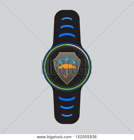 Black smart watch vector sign. Isolated smart watch icon. Waterproof vector logo. Smart watch vector eps10 illustration with water proof symbol. Glowing smart watch.