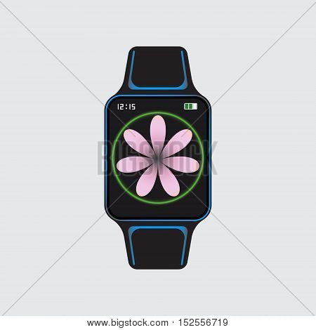 Black smart watch with pink flower decor. Smart watch vector logo. Isolated smart watch sign. Smart watch vector eps10 illustration. Art smart watch. Glowing smart watch.