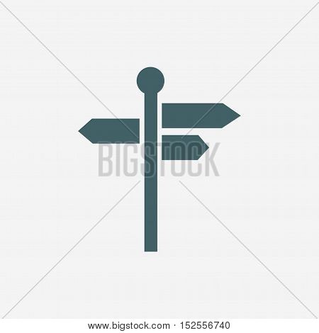 signpost icon, three way direction arrow sign, road direction icon isolated on white background