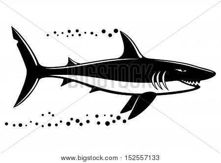 Black shark sign on a white background.