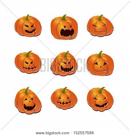 Halloween set with nine scary Jack-O-Lantern pumpkins. Vector icon collection.