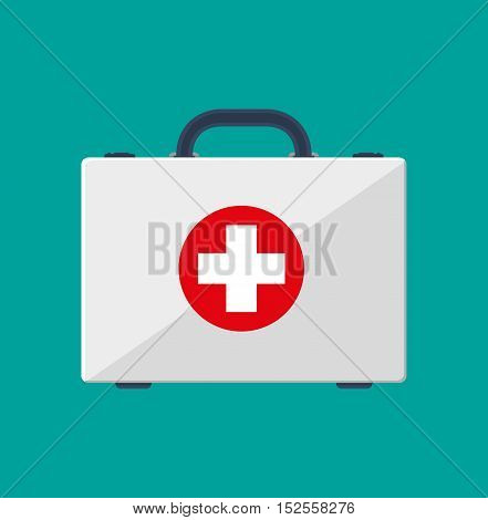 first aid kit. Healthcare, hospital and medical diagnostics. vector illustration in flat style