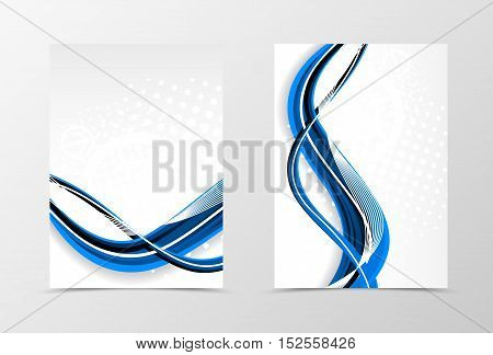 Front and back dynamic wave flyer template design. Abstract template in blue color with digital futuristic background and halftone effect. Vector illustration