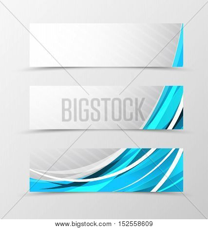 Set of header banner futuristic design with with blue transparent lines and dynamic slanting stripes background in wave style. Vector illustration