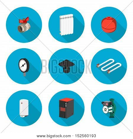 flat icons set heating in vector format eps10