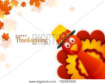 Creative illustration of a Turkey Bird on maple leaves decorated background for Happy Thanksgiving Day celebration.