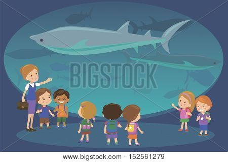 Group of kids watching sharks at oceanaruim aquarium excursion with a teacher. School or kindergarten students on filed trip. Modern flat style vector illustration