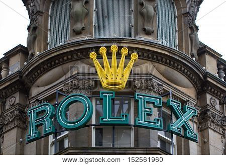 NEWCASTLE, UK - OCTOBER 17, 2016. A large Rolex sign on the facade of the luxury watchmaker's store in Newcastle, UK.