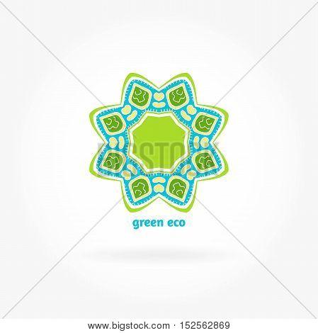 Beautiful circular logos. Logo for organic products, organic cosmetics. Organic Products. Company logo, mark, emblem, element. Simple geometric logo. Mandala logo. Icons, business, invitations. Green.