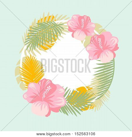 Tropical floral vector background. Summer design. Exotic tropical flowers. Tropical wreath design
