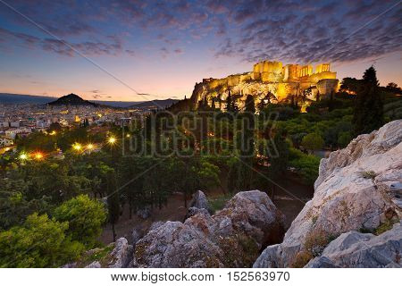 View of Acropolis and Lycabettus Hill from Areopagus hill.