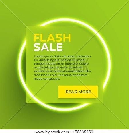 Vector banner or flyer design template with glowing neon tube circle around a square paper banner with realistic drop shadow. Flash Sale label.
