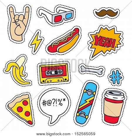 Set of masculine sketchy patches. Different trendy badges and pins. Oldschool vector pictograms in line-art style with 90's colors. Skate, mixtape, coffee and lightning bolt icons.