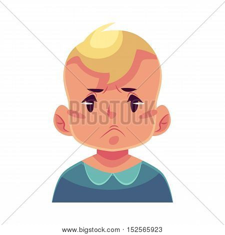Little boy face, angry facial expression, cartoon vector illustrations isolated on white background. Blond male kid emoji face, feeling distressed, frustrated, sullen, upset. Angry face expression