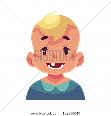 Little boy face expression, smiling facial expression, cartoon vector illustrations isolated on white background. Blond male kid emoji face smile, white teeth. Happy, glad, smiling face expression