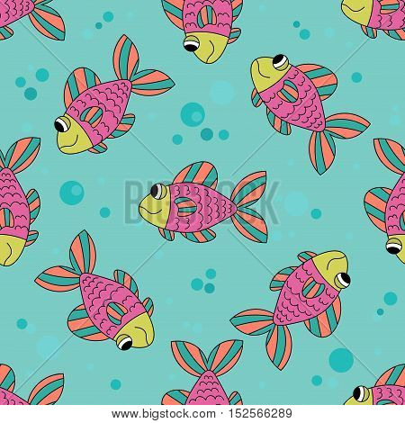 Cute colorful cartoon fish seamless pattern. Underwater smiling fish. Tropical ocean life. Animal wrappng paper. Vector illustration.