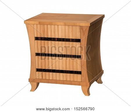 Brown bedside table isolated on white background
