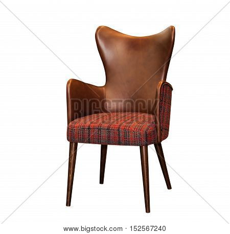 Modern textile red chair with brown leather chair back isolated on white background