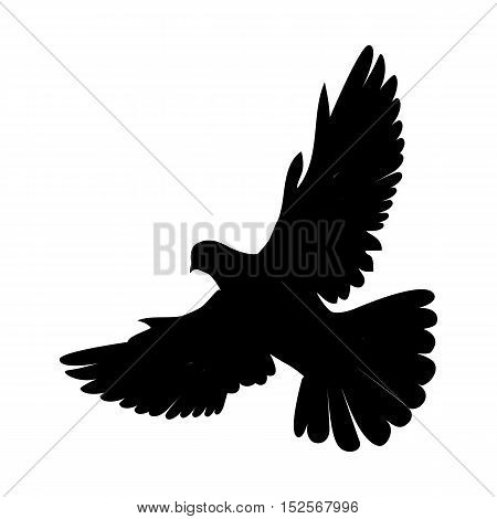 Pigeon vector. Religion, wedding, peace, pacifism, concept in black color.