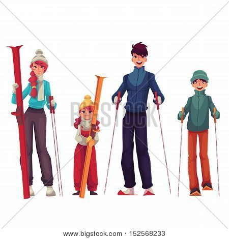 Full length family portrait of father, mother, daughter and son with ski, cartoon vector illustration isolated on white background. Cheerful family in winter clothes with ski and ski poles