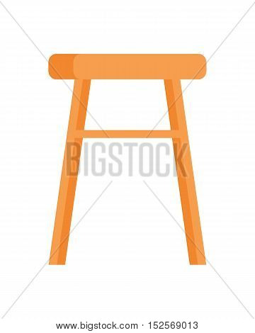 Stool vector in flat style design. Classic furniture for kitchen or living room.