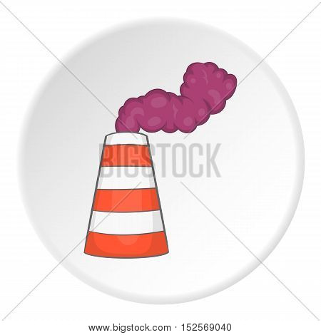 Factory chimney icon. Flat illustration of factory chimney vector icon for web