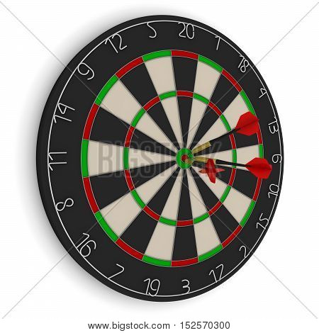 Dart Board With Three Red Darts In Bullseye Isolated On White 3D Illustration
