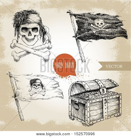 Hand drawn sketch style pirates set. Treasure chest Jolly Roger pirates flag. Vintage retro vector illustration on grunge background.