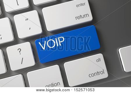 Voip Concept Modernized Keyboard with Voip on Blue Enter Button Background, Selected Focus. 3D Render.