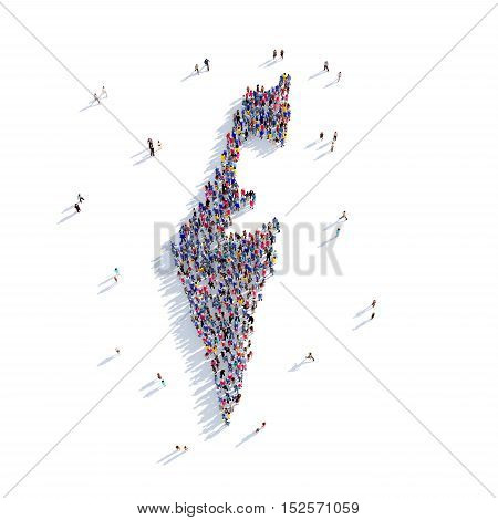 Large and creative group of people gathered together in the form of a map Israel, a map of the world. 3D illustration, isolated against a white background. 3D-rendering.