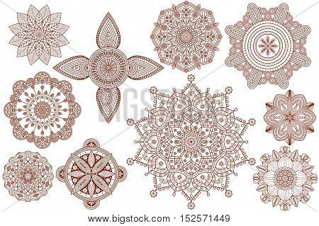 Collection of henna tattoo Hindu ornaments. Vector illustration.