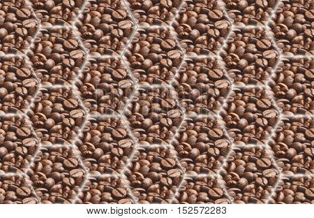 Coffee background: polygons with images of coffee interconnected