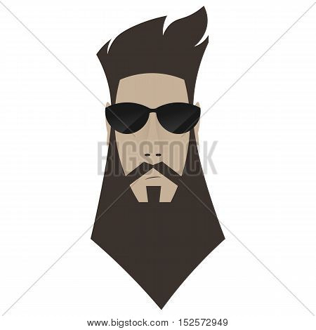 A Brutal Man. Hipster In Dark Glasses,