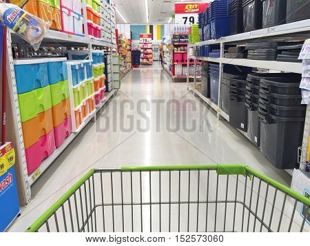 CHIANG RAI THAILAND - OCTOBER 18 : indoor BigC supermarket interior view with shopping cart on October 18 2016 in Chiang rai Thailand. BigC is a very big supermarket chain in Thailand.