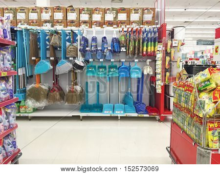 CHIANG RAI THAILAND - OCTOBER 18 : cleaning zone in BigC supermarket interior view on October 18 2016 in Chiang rai Thailand. BigC is a very big supermarket chain in Thailand.