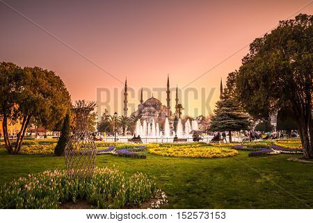 The Blue Mosque, Istanbul, Turkey. Sultanahmet Camii is one of the major attractions of the city. The photo was taken at sunset.