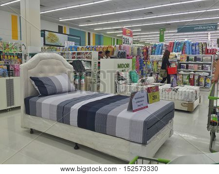 CHIANG RAI THAILAND - OCTOBER 18 : bedroom zone in BigC supermarket interior view on October 18 2016 in Chiang rai Thailand. BigC is a very big supermarket chain in Thailand.