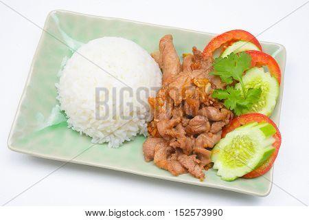 Thai style food, pork fried with crunchy garlic