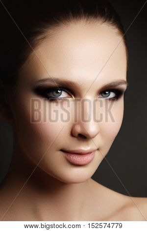 Beautiful Woman With Bright Make Up Eye With Sexy Liner Makeup.